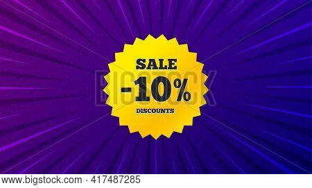 Sale 10 Percent Off Banner. Purple Background With Offer Message. Discount Sticker Shape. Coupon Sta
