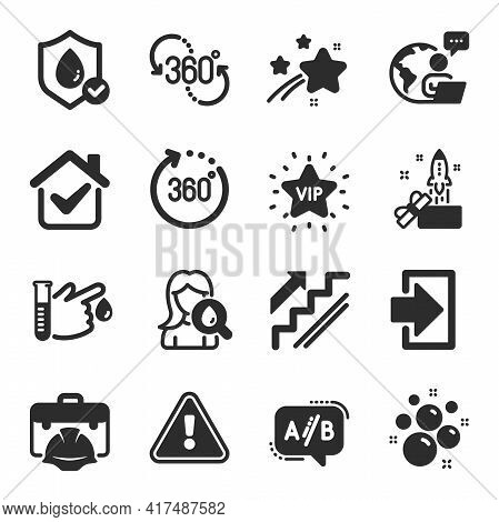 Set Of Business Icons, Such As Ab Testing, Innovation, Blood Donation Symbols. Waterproof, Vip Star,