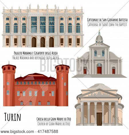 Sights Of Turin, Italy. Palazzo Madama E Casaforte Degli Acaja (palace Madama And Defensive  Castle