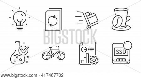 Energy, Update Document And Coffee Cup Line Icons Set. Bicycle, Report And Chemistry Lab Signs. Push