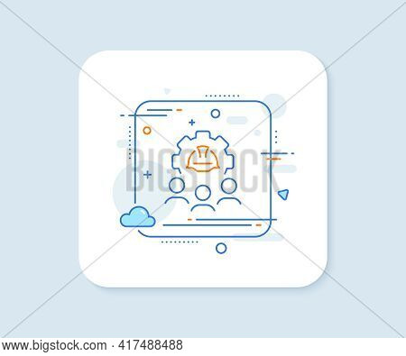 Engineering Team Line Icon. Abstract Square Vector Button. Engineer Or Architect Group Sign. Constru