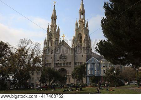 San Francisco, California / Usa - August 25, 2015: A Church In San Francisco City, San Francisco, Ca