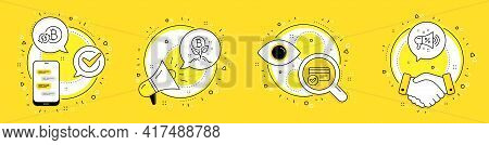 Refresh Bitcoin, Bitcoin Project And Payment Methods Line Icons Set. Cell Phone, Megaphone And Deal