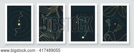 Modern Abstract Botanical Organic Art Illustration. Set Of Golden Line Painting Wall Art For House D