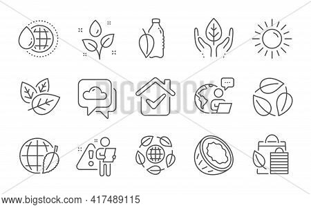 Sun, Organic Tested And Weather Forecast Line Icons Set. World Water, Environment Day And Coconut Si