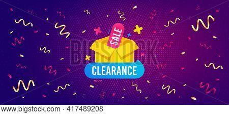 Clearance Sale Banner. Festive Confetti Background With Offer Message. Discount Sticker Box. Special