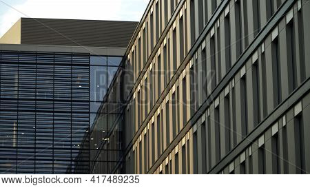 An Office Building Facade In Domaniewska Street Warsaw, Poland. The Shot Is Taken During The Daytime