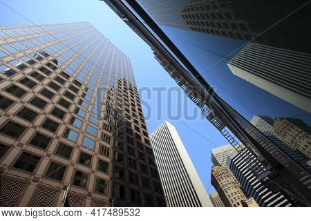 San Francisco, California / Usa - August 25, 2015: Business District And Buildings In San Francisco
