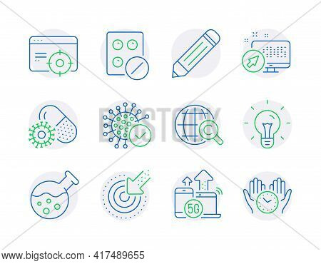 Science Icons Set. Included Icon As Web System, Seo Targeting, Idea Signs. Pencil, Coronavirus, 5g I