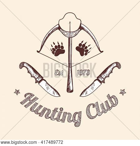 Hunting Retro Sketch Design. Stretched Bowstring Of A Crossbow With An Arrow And Hunting Knives On B