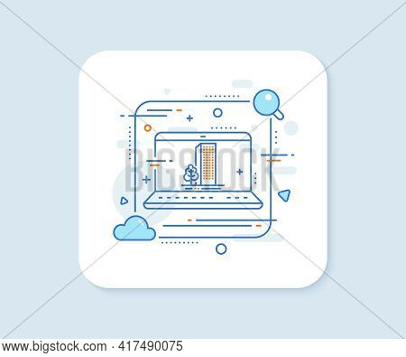 Buildings Line Icon. Abstract Vector Button. City Architecture With Tree Sign. Skyscraper Building S