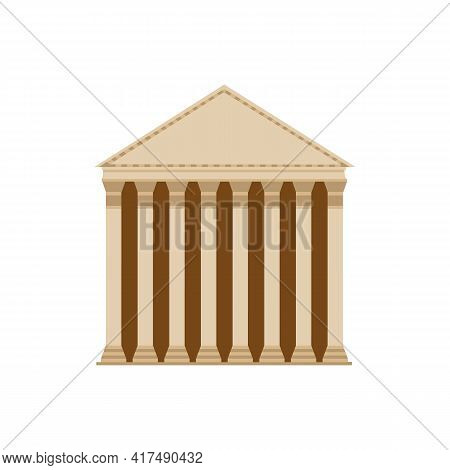 Ancient Roman Building With Columns And Frieze Flat Vector Illustration Isolated.