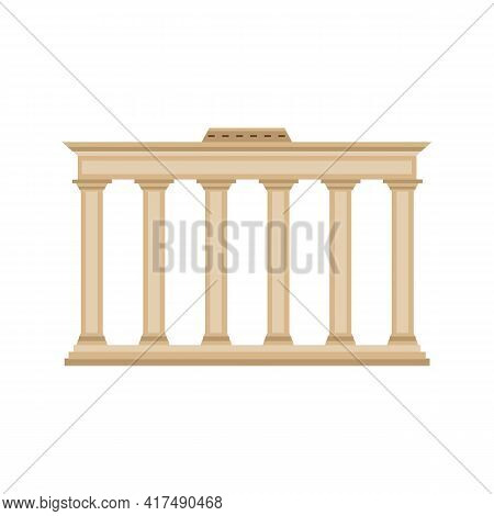 Architecture Of Classical Stone Ancient Roman Or Greek Building With Columns.