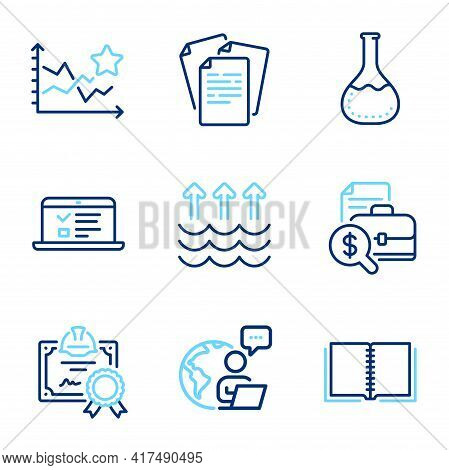 Education Icons Set. Included Icon As Evaporation, Chemistry Lab, Accounting Report Signs. Documents