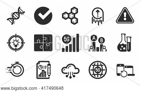 5g Internet, Recovery Devices And Puzzle Icons Simple Set. Idea, Cloud Computing And Verify Signs. 5