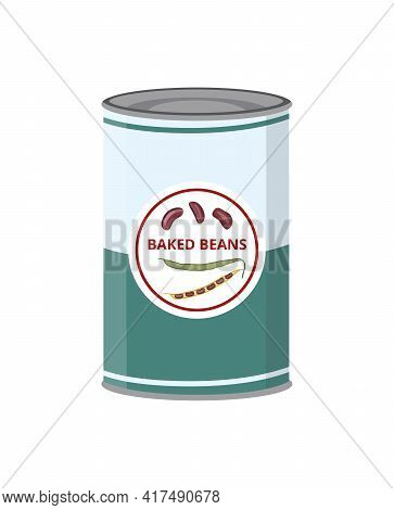 Baked Kidney Beans Canned In Tin Can, Tinned Vegetables Healthy Food