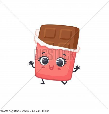 Cartoon Cute Character Milk Chocolate Bar, Sweet Snack In Red Wrapper.