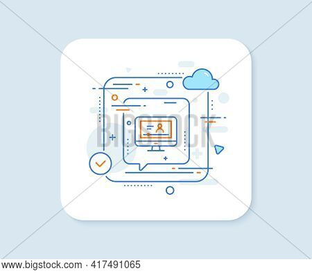 Online Video Education Line Icon. Abstract Vector Button. Computer With Online Lecture Sign. Web Pla