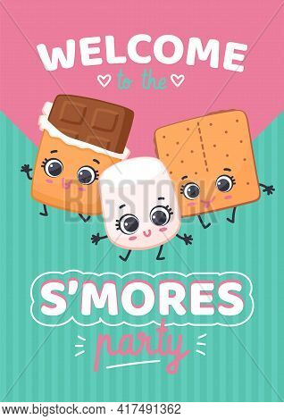 Cartoon Characters Chocolate, Marshmallow And Crackers Invite On Smores Party