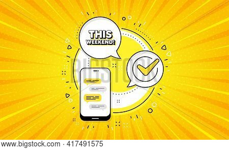 This Weekend Symbol. Yellow Vector Button With Phone. Special Offer Sign. Sale. This Weekend Line Ic