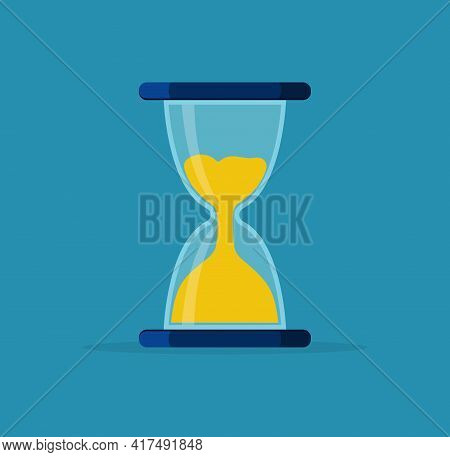 Hourglass. Sand Clock In Glass. Sandglass For Time, Timer And Watch. Icon Of Hour. Sandclock For Cou