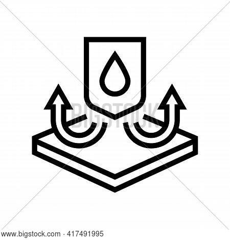 Waterproof Fabrics Properties Line Icon Vector. Waterproof Fabrics Properties Sign. Isolated Contour