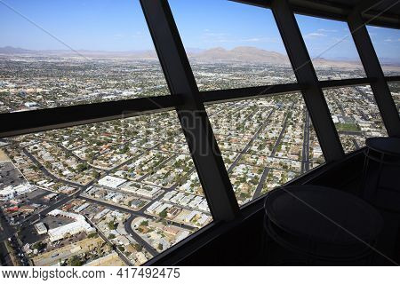 Las Vegas, Nevada / Usa - August 27, 2015: View From Top Of Stratosphere Hotel In Las Vegas, Nevada,