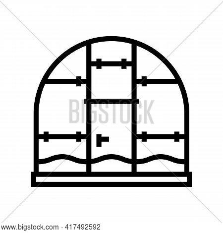 Polycarbonate Greenhouse Line Icon Vector. Polycarbonate Greenhouse Sign. Isolated Contour Symbol Bl