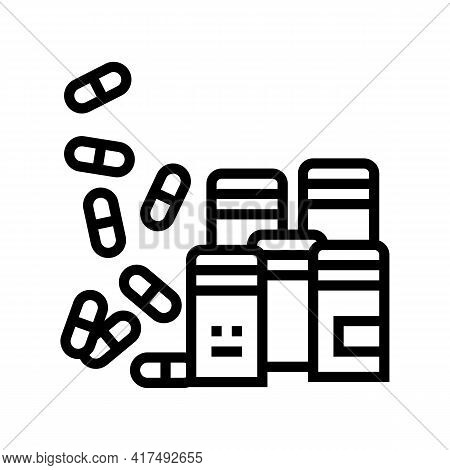 Pills Homeopathy Containers Line Icon Vector. Pills Homeopathy Containers Sign. Isolated Contour Sym