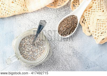 Healthy Chia Pudding With Coconut Milk And Raw Chia Seeds. Above View