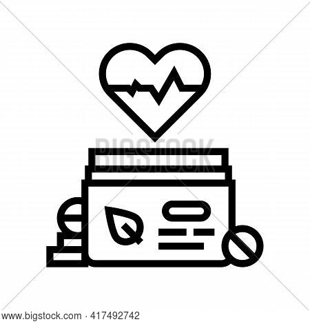 Heart Treatment Homeopathy Pills Line Icon Vector. Heart Treatment Homeopathy Pills Sign. Isolated C
