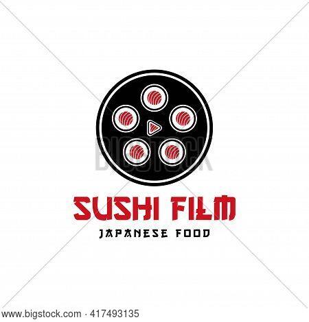 Sushi Film Studio Movie Video Cinema Cinematography Film Production Logo Design Vector