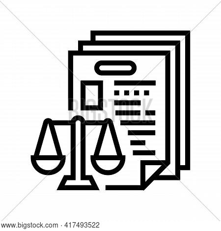 Bureaucracy Law Dictionary Line Icon Vector. Bureaucracy Law Dictionary Sign. Isolated Contour Symbo