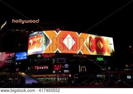 Las Vegas, Nevada / Usa - August 27, 2015: Illuminated Signs At Las Vegas, Nevada, Usa