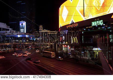 Las Vegas, Nevada / Usa - August 27, 2015: Las Vegas View In The Night, Nevada, Usa