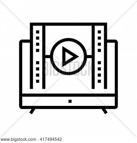 Watch Movie Mens Leisure Line Icon Vector. Watch Movie Mens Leisure Sign. Isolated Contour Symbol Bl