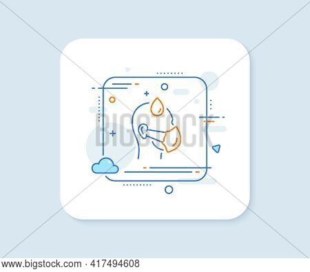 Sick Man With Medical Mask Line Icon. Abstract Square Vector Button. Safety Respiratory Mask Sign. C