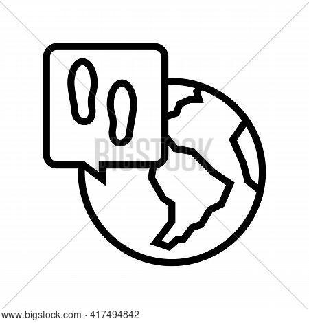 Worldwide Refugee Line Icon Vector. Worldwide Refugee Sign. Isolated Contour Symbol Black Illustrati