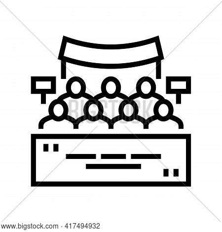 Meeting Of Refugee People Line Icon Vector. Meeting Of Refugee People Sign. Isolated Contour Symbol