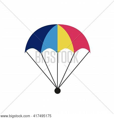 Parachute Icon Isolated On White Background. Parcel With Parachute For Shipping. Delivery Service, A