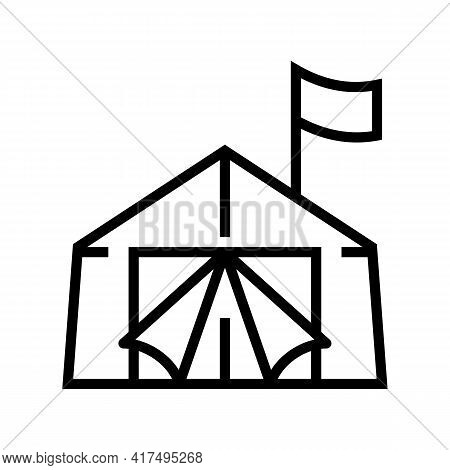 Tent Refugee Line Icon Vector. Tent Refugee Sign. Isolated Contour Symbol Black Illustration
