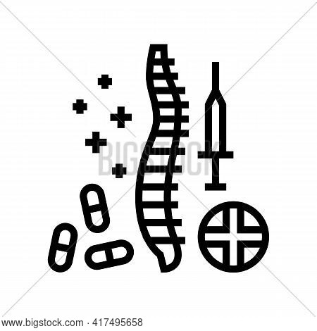 Treatment Scoliosis Line Icon Vector. Treatment Scoliosis Sign. Isolated Contour Symbol Black Illust