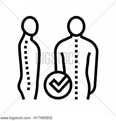 Correct Posture Line Icon Vector. Correct Posture Sign. Isolated Contour Symbol Black Illustration