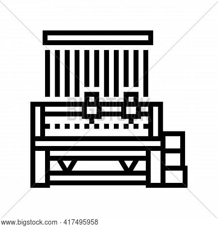 Silk Production Machine Line Icon Vector. Silk Production Machine Sign. Isolated Contour Symbol Blac