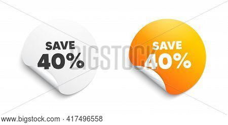 Save 40 Percent Off. Round Sticker With Offer Message. Sale Discount Offer Price Sign. Special Offer