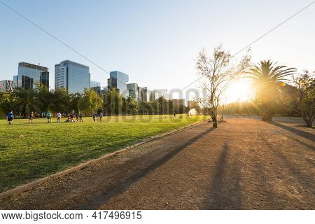 Santiago, Region Metropolitana, Chile - January 17, 2019: People Practicing Sports At Parque Araucan