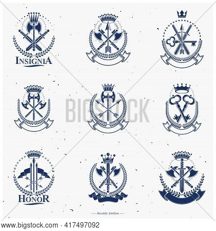 Vector Emblem, Vintage Heraldic Crest, Badge, Coat.