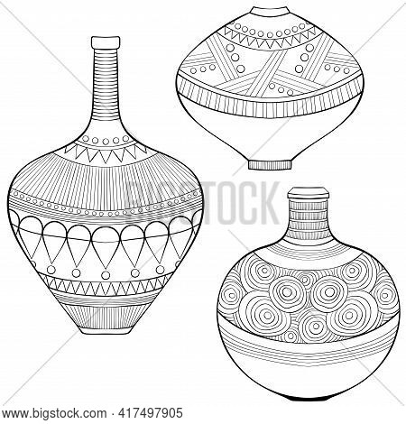 Set Of Three African Ethnic Vases Different Types. African, American, Tribal, Aztec Style. Line Art