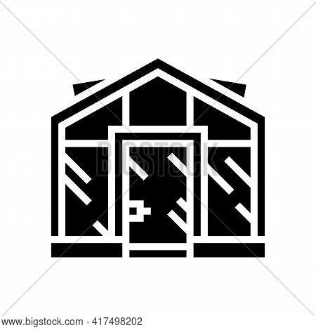 Glass Greenhouse Glyph Icon Vector. Glass Greenhouse Sign. Isolated Contour Symbol Black Illustratio