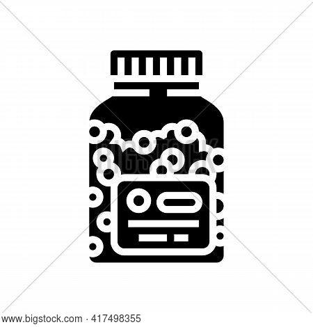 Vitamins Homeopathy Bottle Glyph Icon Vector. Vitamins Homeopathy Bottle Sign. Isolated Contour Symb